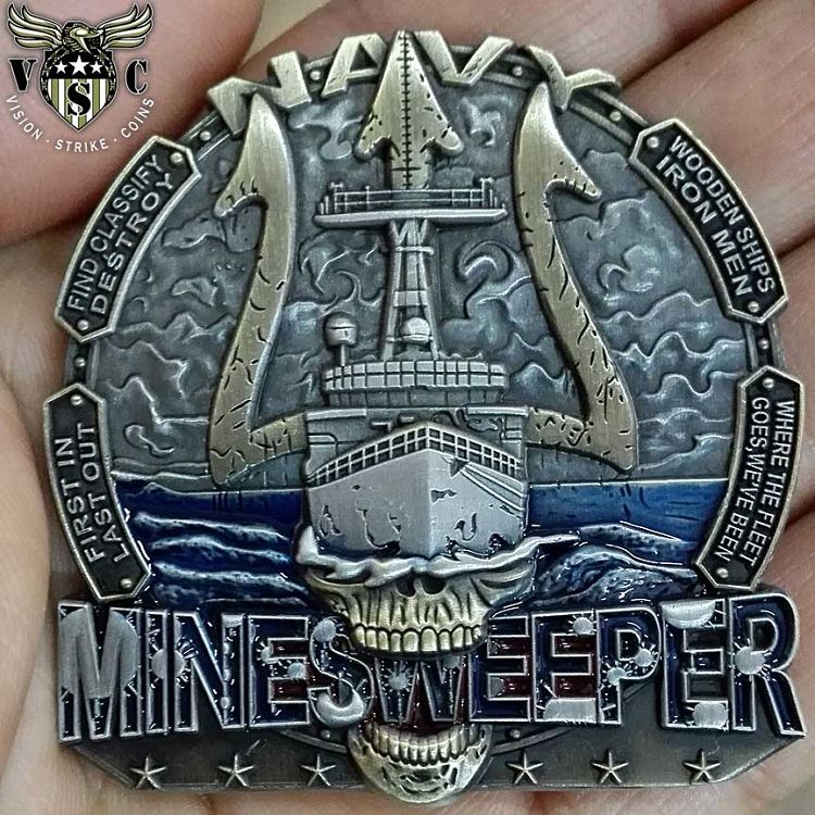 Us Navy Minesweeper Wooden Ships Iron Men Coin 1600 Us Navy