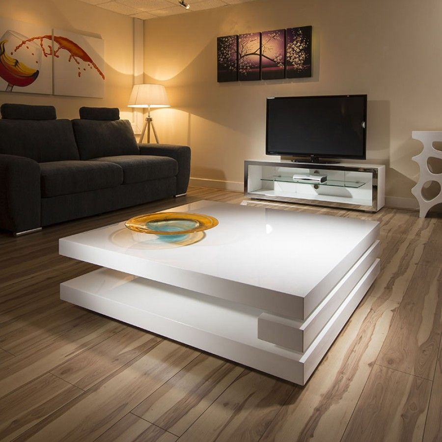 Superb Extra Large Modern Square White Gloss 1 2mt Coffee Table