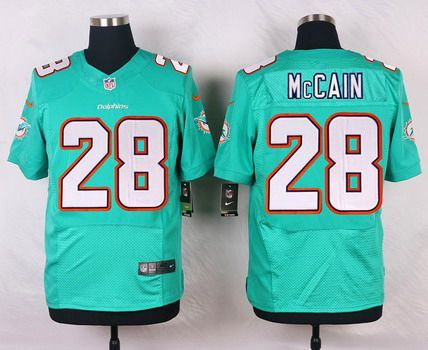 bc3685fb1c4 Men's Miami Dolphins #28 Bobby McCain Aqua Green Team Color NFL Nike Elite  Jersey