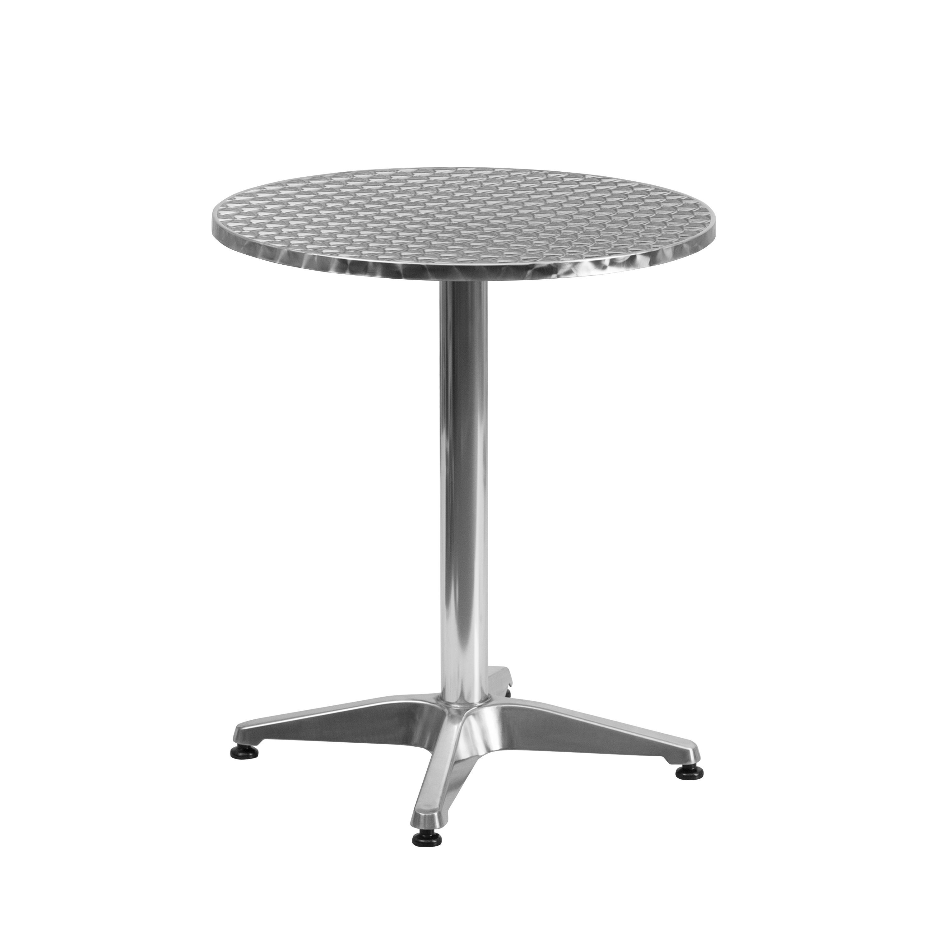 Silver Patio Furniture.23 5 Inch Round Aluminum Silver Indoor Outdoor Table With Base