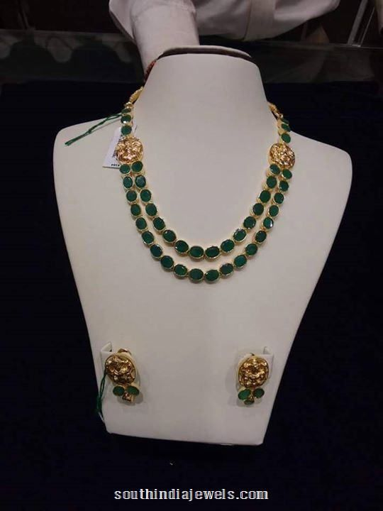 Gold Emerald Step Necklace With Earrings Necklace