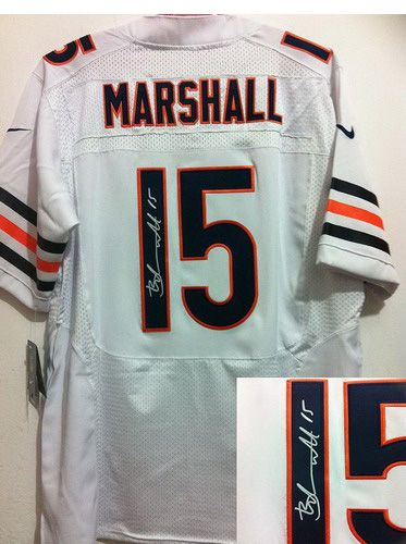 ca6f6c793fb76 Nike Bears #15 Brandon Marshall Signed White Mens NFL Elite Jersey ...