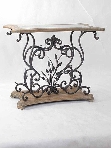 Lisbon Aged Black Iron Light Wood Console With Glass Top Www