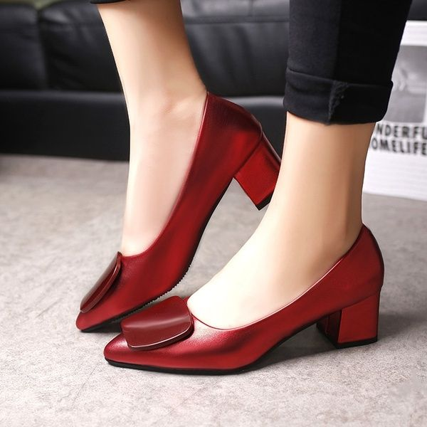 Fashion Women Pointed Shallow Mouth Shoes Classic Dress Sexy Leather Shoes
