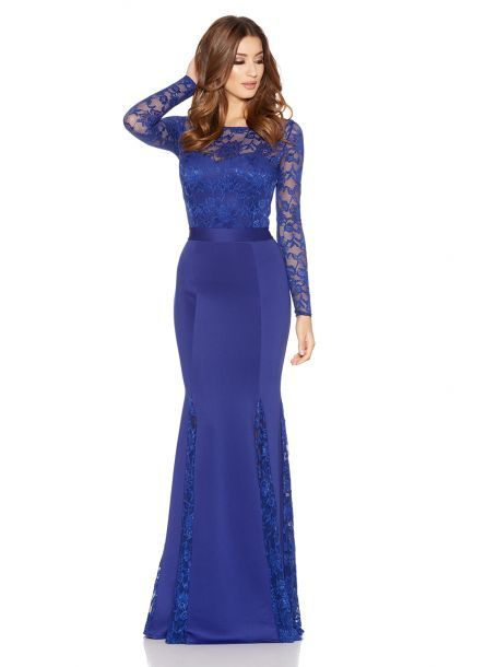 7913ccb7a077 Royal Blue Lace Long Sleeve Fishtail Maxi Dress | Clothing ...