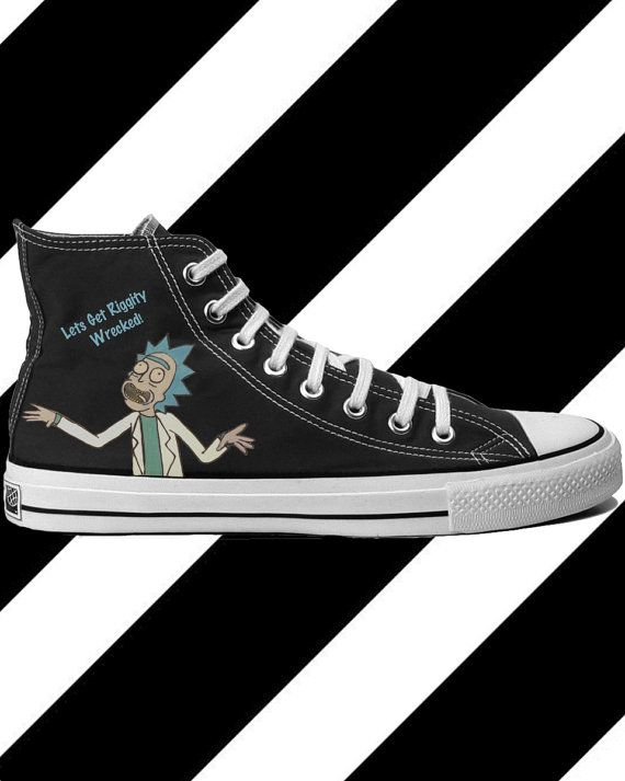 a3f34a6b4573  5 OFF SHOE PURCHASE IN FEBRUARY! Rick and Morty Custom Converse Hightops  Lets Get by DrCraftPony