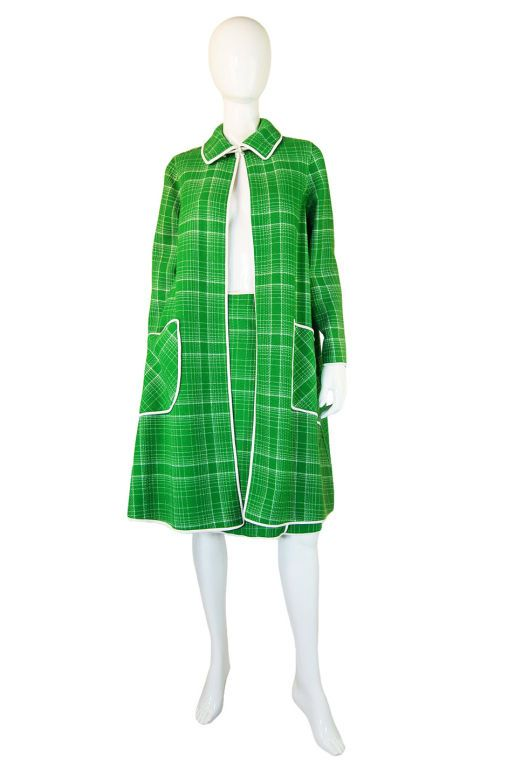 Ensemble of wool plaid edged in white leather. Swingy ~
