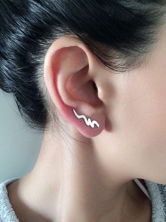 00a8f0e48 Ear Crawler , Climber Earring , Gold Ear Cuff , Gold Ear Cuff , Ear Climber  , Climbing Earrings , E