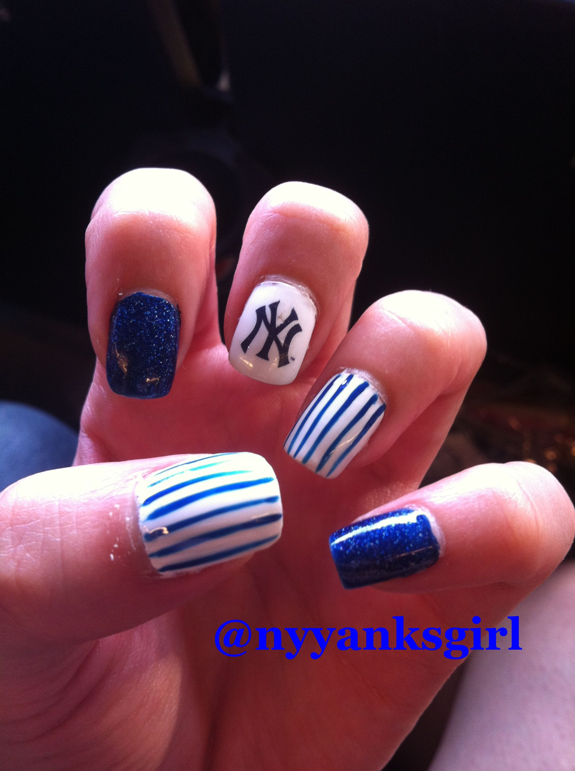 BASEBALL Season is BAAAACK! Go Yankees! New York Yankees Nail Art ...