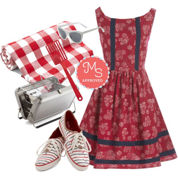 In this outfit; Chai Connoisseur Dress, Red, White and BBQ