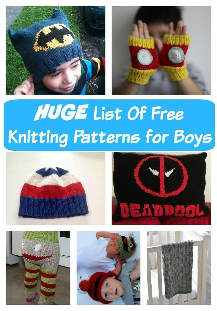 The HUGE List Of Free Knitting Patterns for Boys | Crochet ...