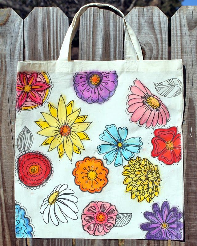 Gelato Flowers Canvas Tote Bag Diy Tote Bag Painted Bags