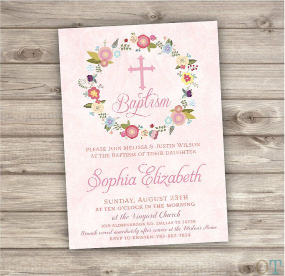 Baptism Invitations Floral Cross Pink Girl Simple Modern Flowers