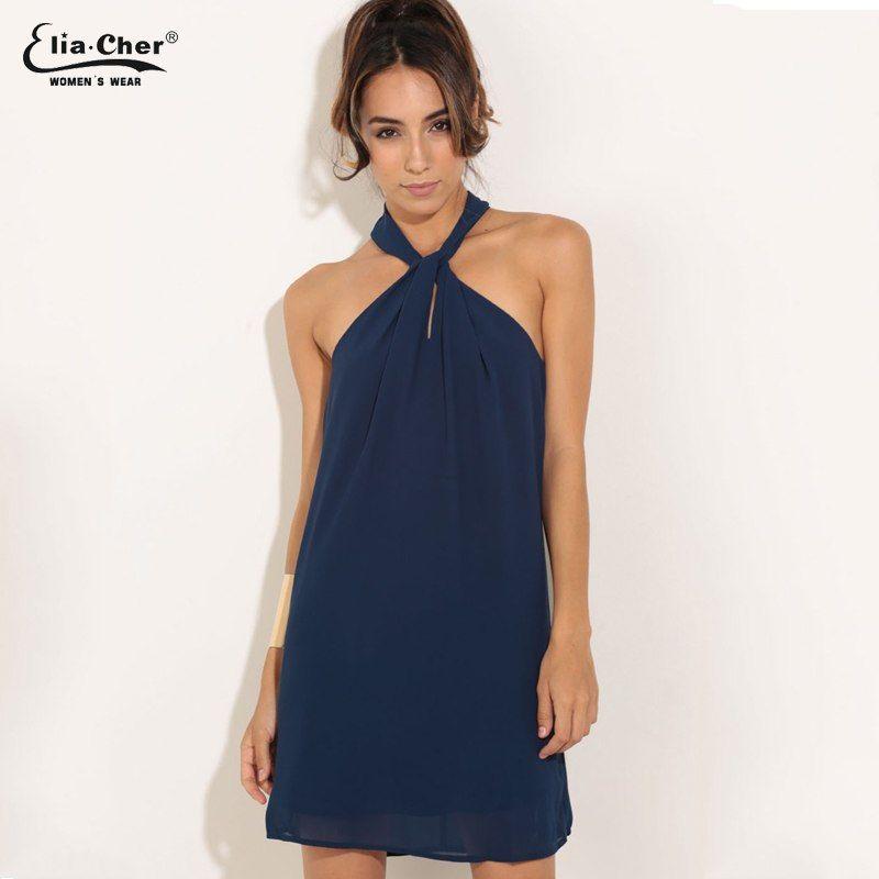 Women Chiffon Dress Summer Dress Eliacher Brand Plus Size Chic sexy  Sleeveless Evening Party Halter Shift Blue Dresses Price  31.86   FREE  Shipping  love c4ffac693a0c