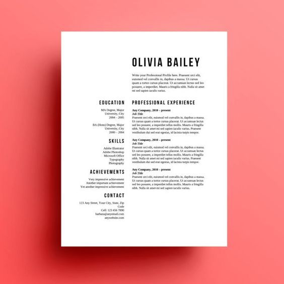 Resume Template Cover Letter Instant Download
