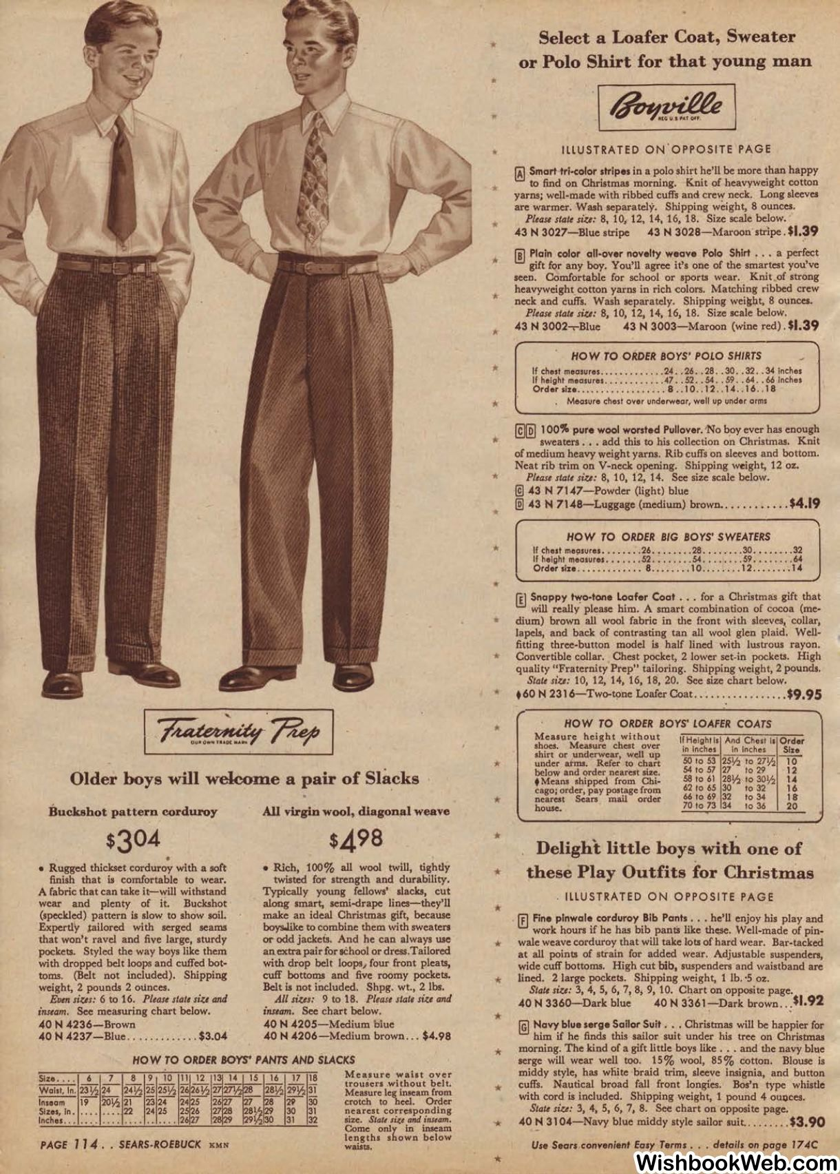 wide pants 1945 sears christmas catalogue