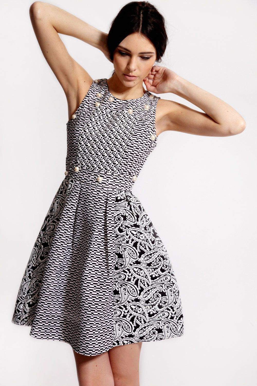 2219b71c69 Boutique Mia Monochrome Pearl Trim Prom Dress - Boohoo £40   Fashion ...