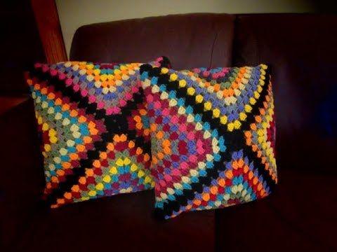 Funda en diagonal tejida a crochet para almohadones (la forma más ...