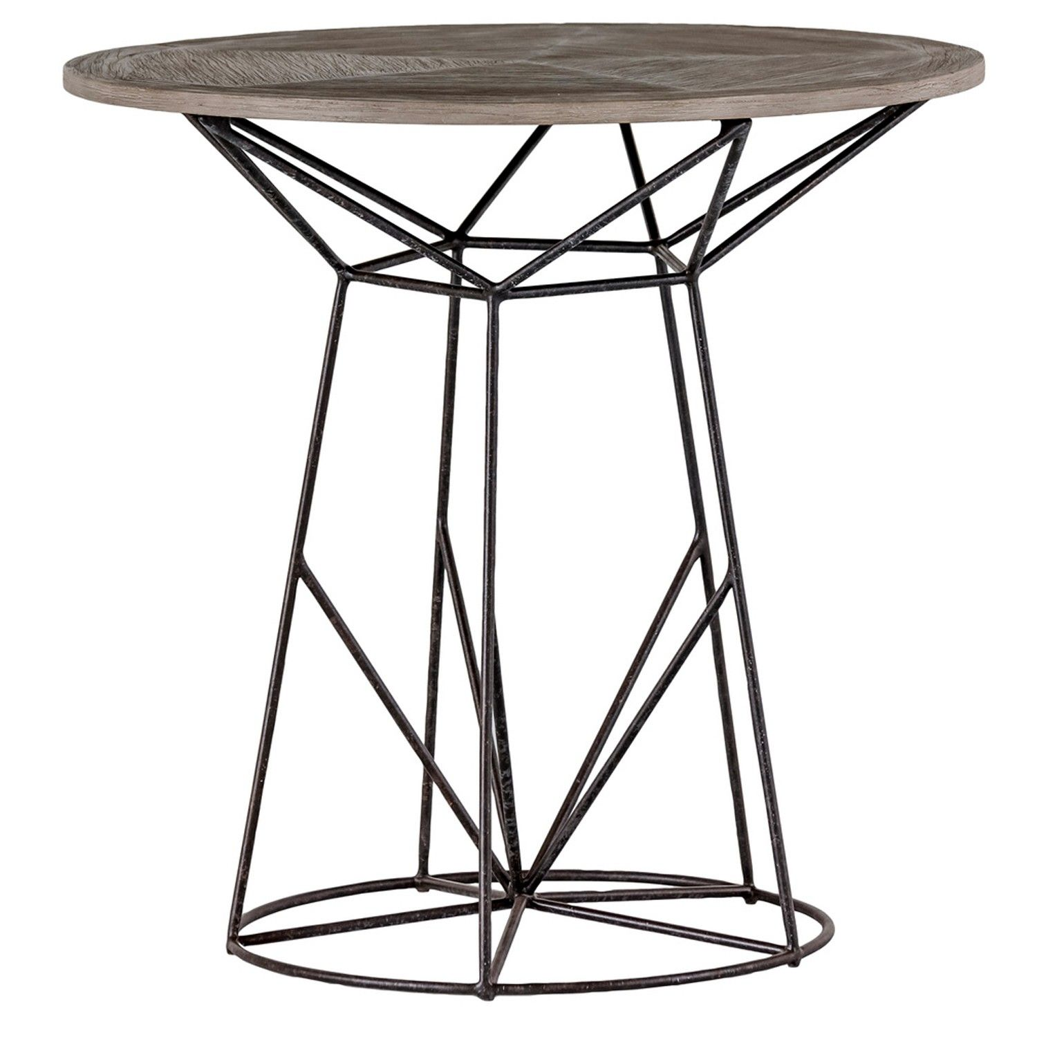 The charlie round wood and wire side table is a visual marvel in