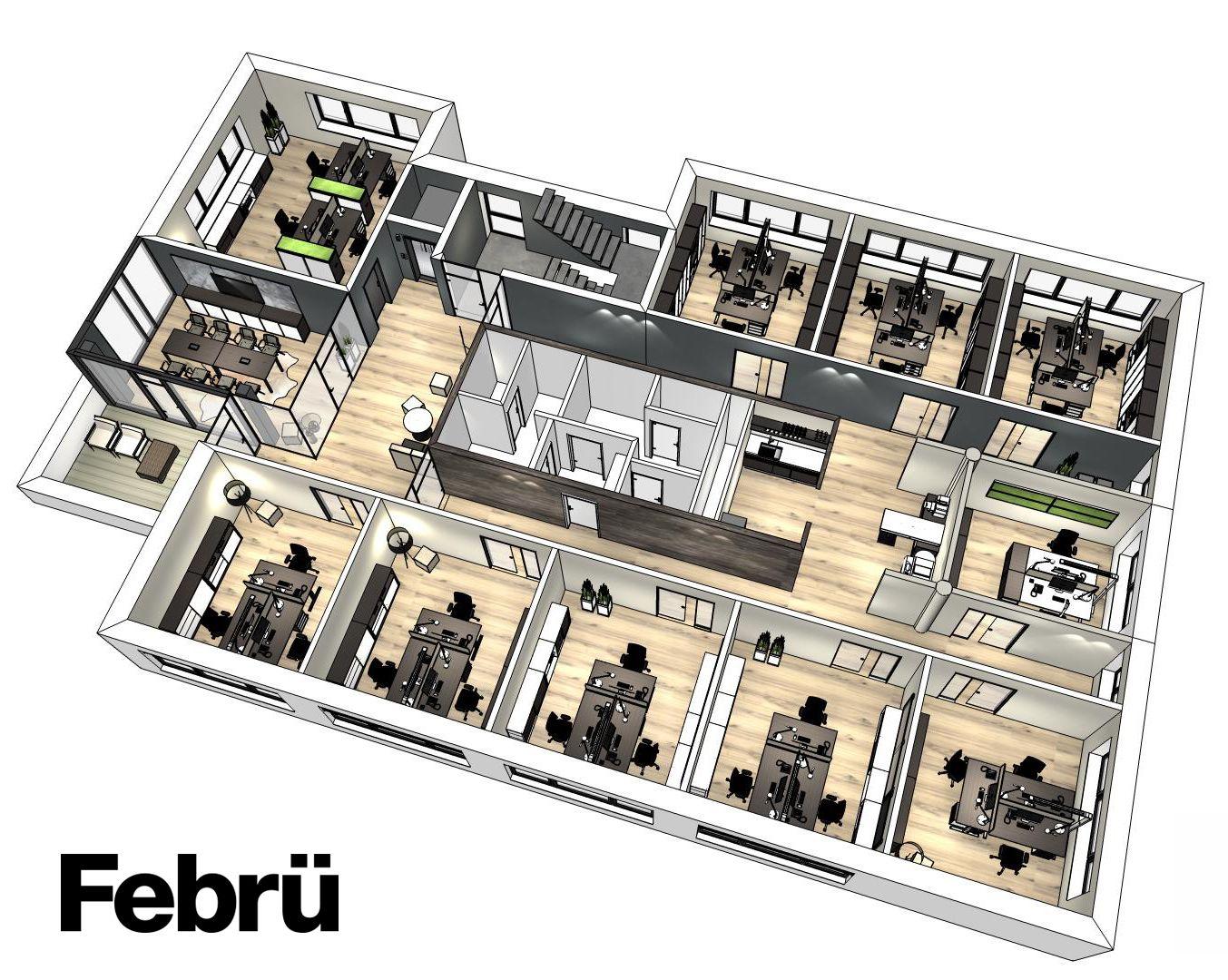 grundriss b ro einzel und teamb ros mit konferenzraum und kleiner k che besprechungstische. Black Bedroom Furniture Sets. Home Design Ideas