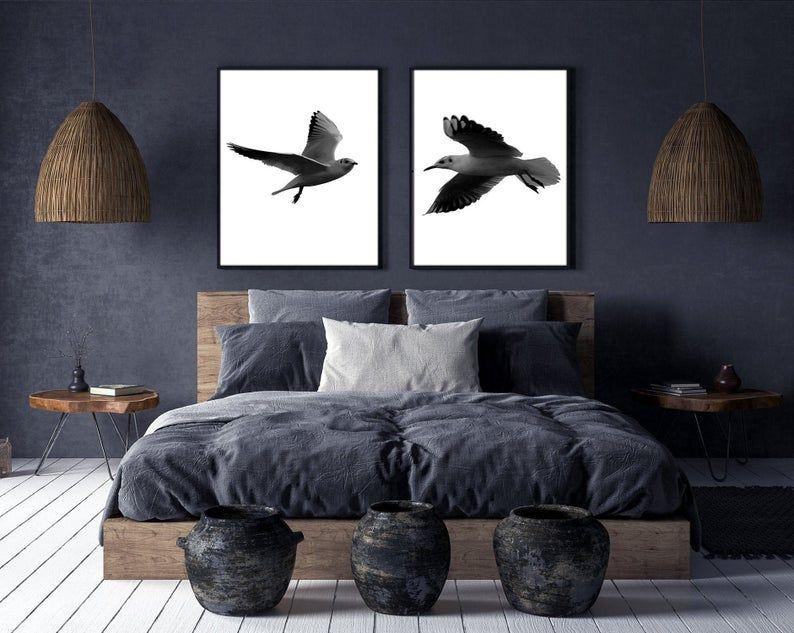 Photo of Fugletrykk sett med 2, Fugltrykk Veggsett, Fotografitrykk, Fugleflyvende trykk, Minimalistisk utskriftsbar kunst, sort / hvitt, Hjemmeinnredning, Veggkunst.