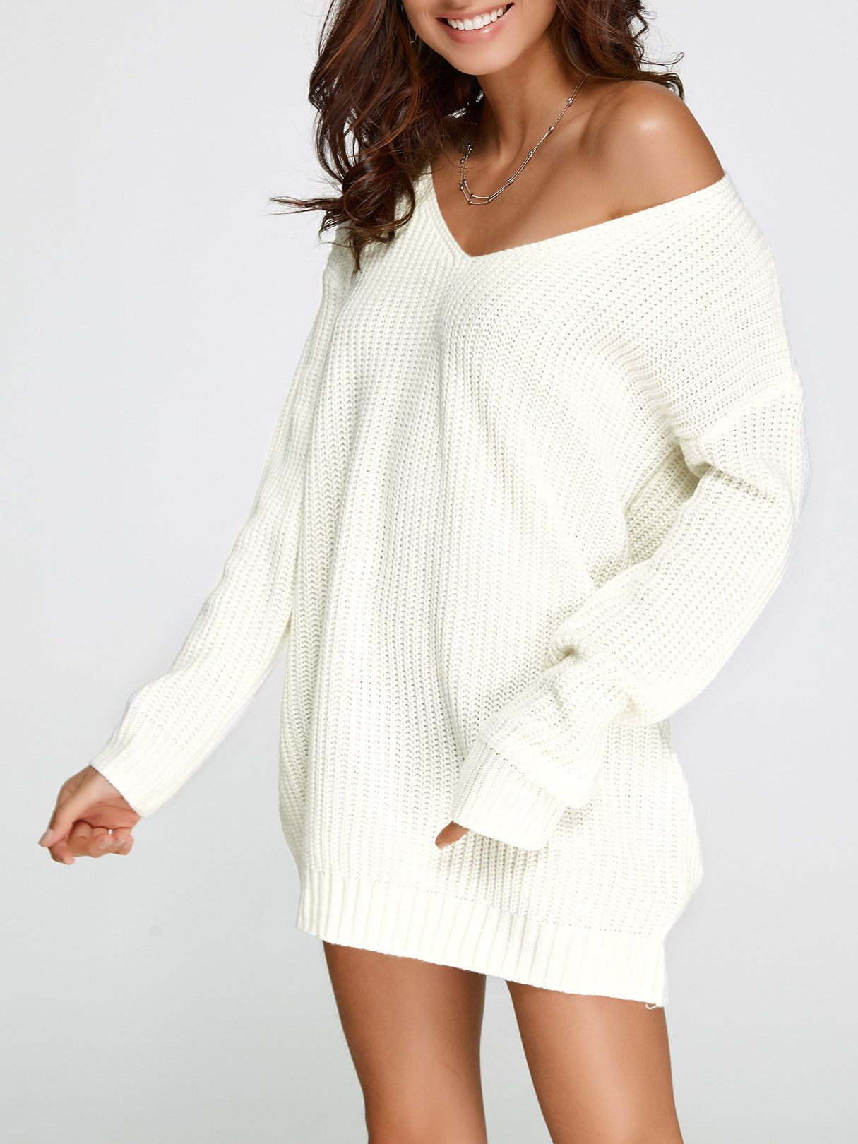 Womens Ladies V Neck Baggy Oversized Mini Dress Ribbed Knitted Knitwear Jumper