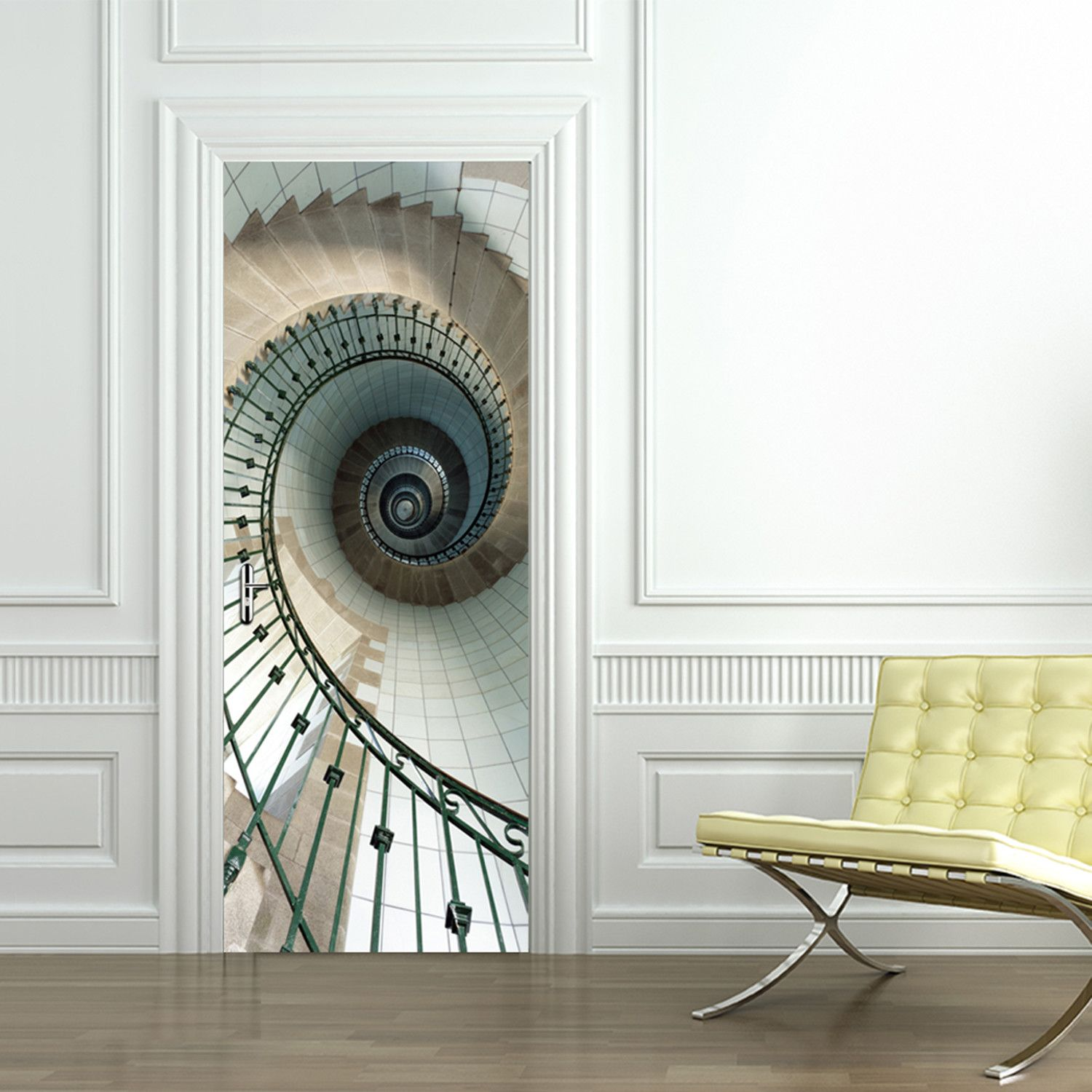 Accent Wall For Circular Staircase: Wall Treatments, Door Stickers, Home Decor