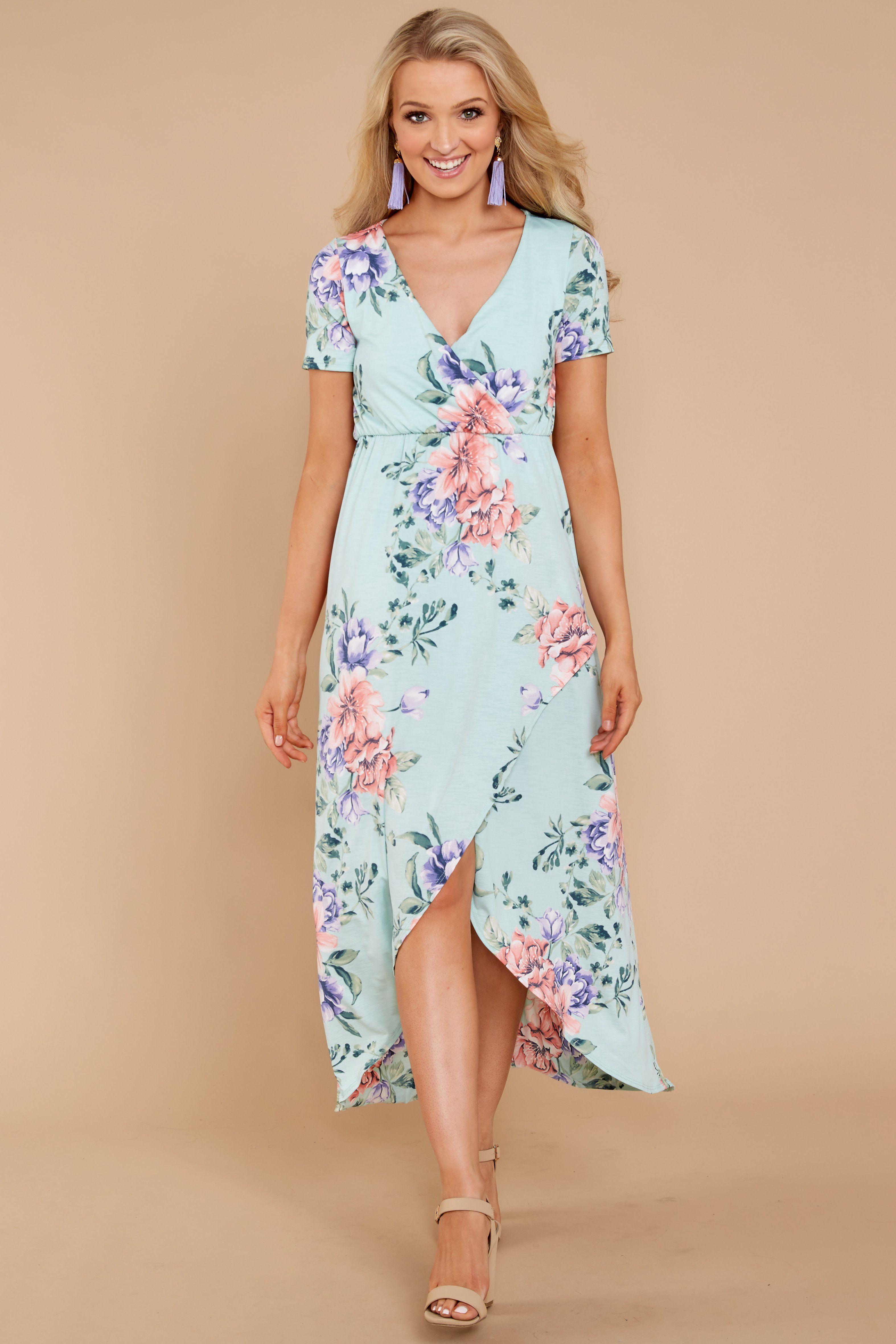 e3010277c5 Adorable Mint Floral Print Dress - Chic Floral Print Dress - Dress -  42.00  – Red Dress Boutique