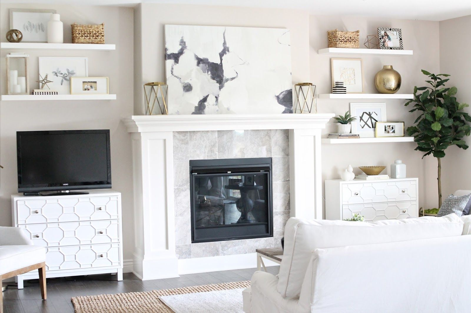 Living Room Reveal {How to Fake Built-In Shelving} | Room tour ...