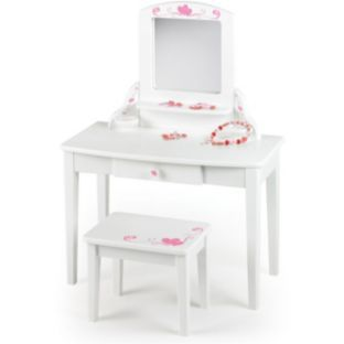 Buy Pintoy Dressing Table, Stool and Mirror Vanity Unit - White at ...