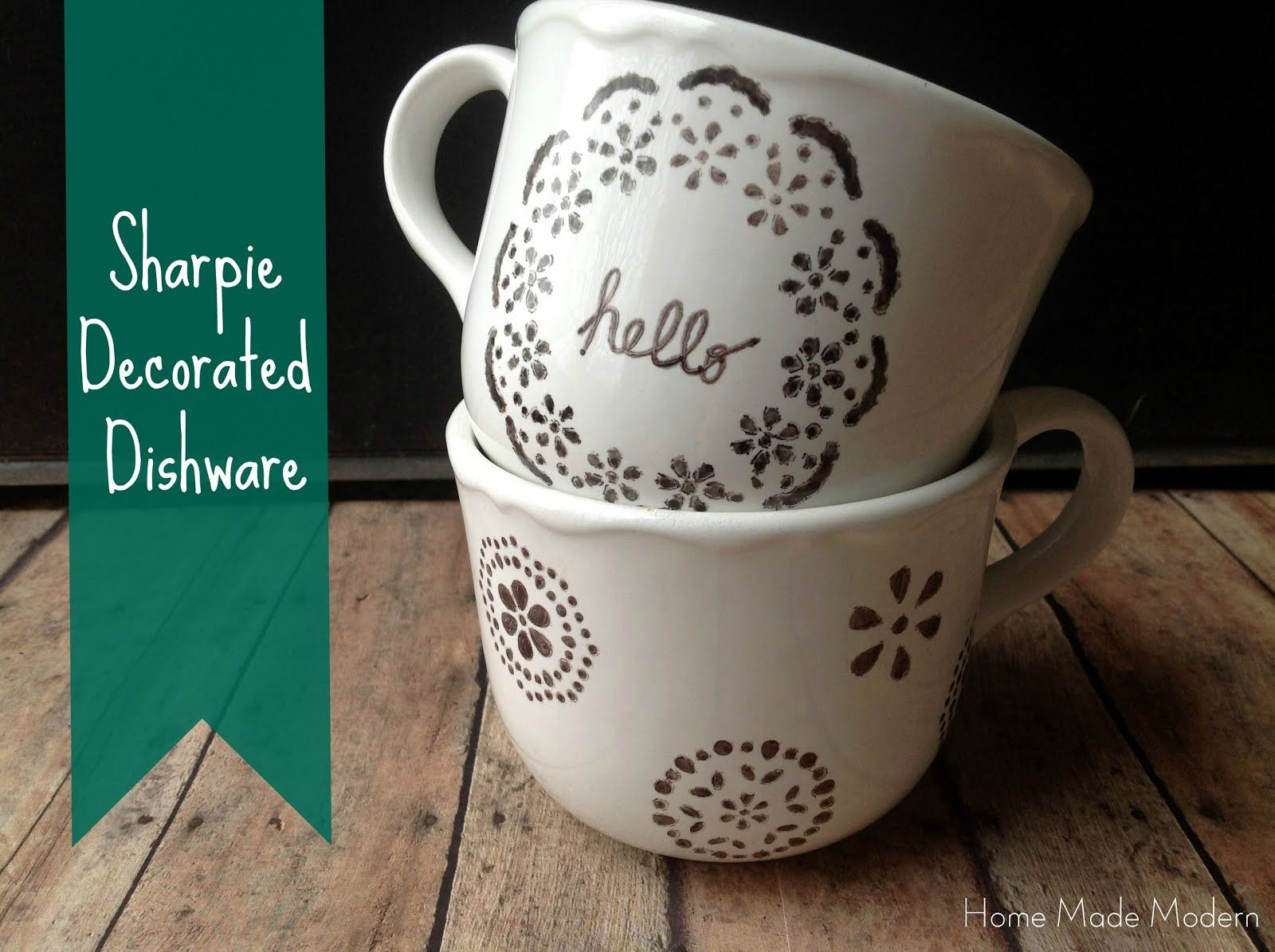 Craft ideas with sharpies - Copycat Craft Sharpie Decorated Dishware