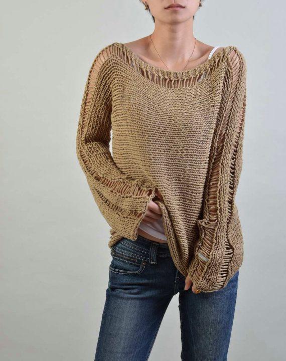 Mano de punto mujer suéter - Eco Cotton en trigo - listo para enviar ... 53cd51682d99