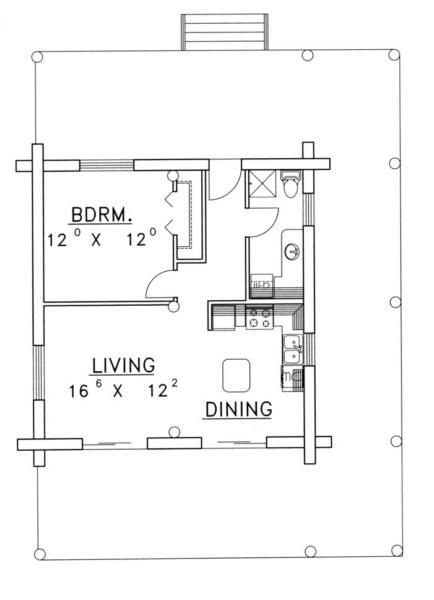 House Plan 039 00070 Cabin Plan 689 Square Feet 1 Bedroom 1 Bathroom In 2020 Tiny House Floor Plans House Plans House Floor Plans