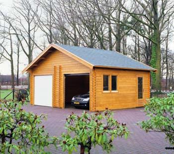 Eine doppelte Holzgarage mit grauem Dach. Mehr Information