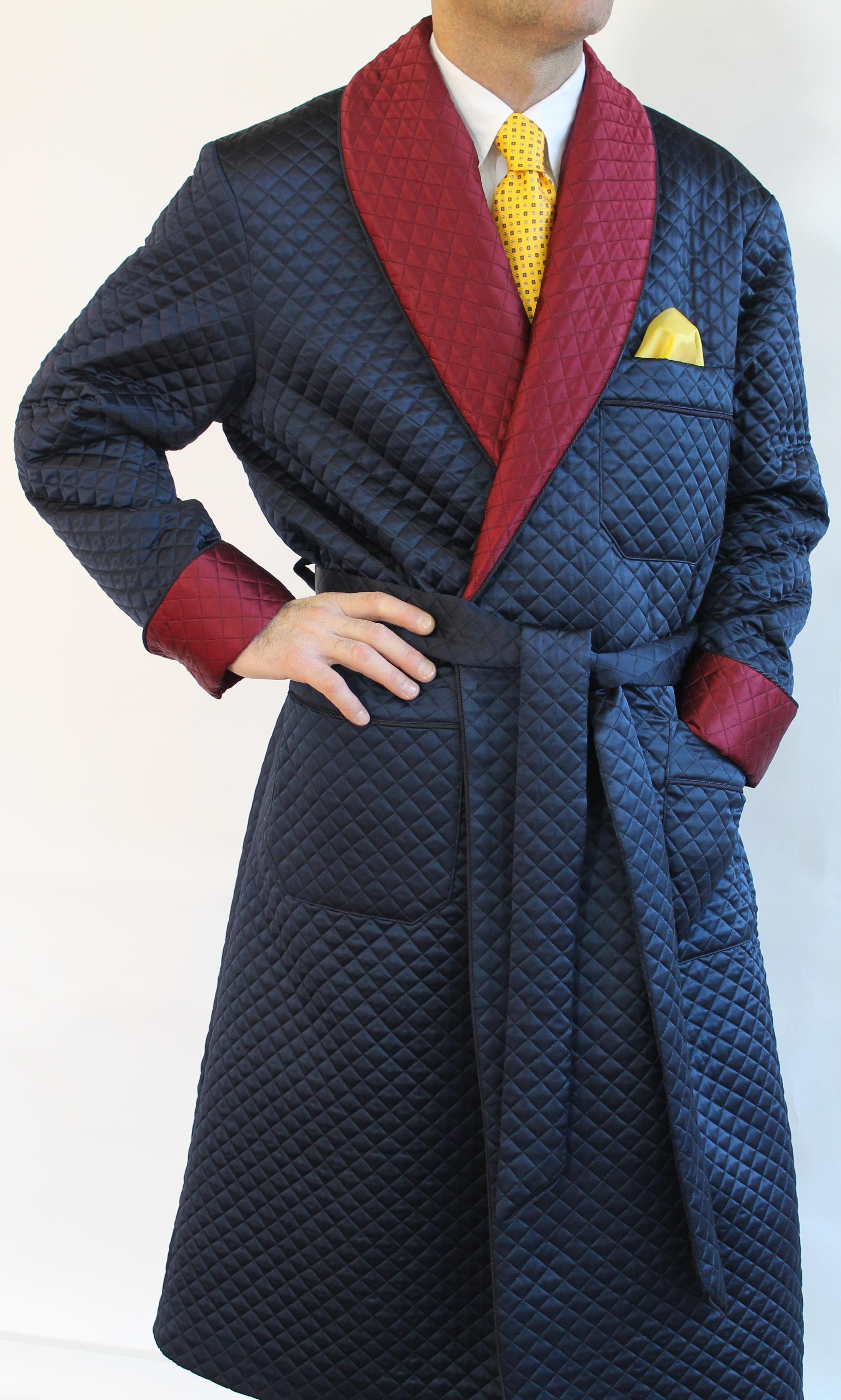 100% authenticated real quality on sale Quilted satin silk classic dressing gowns for man : CLASSIC ...