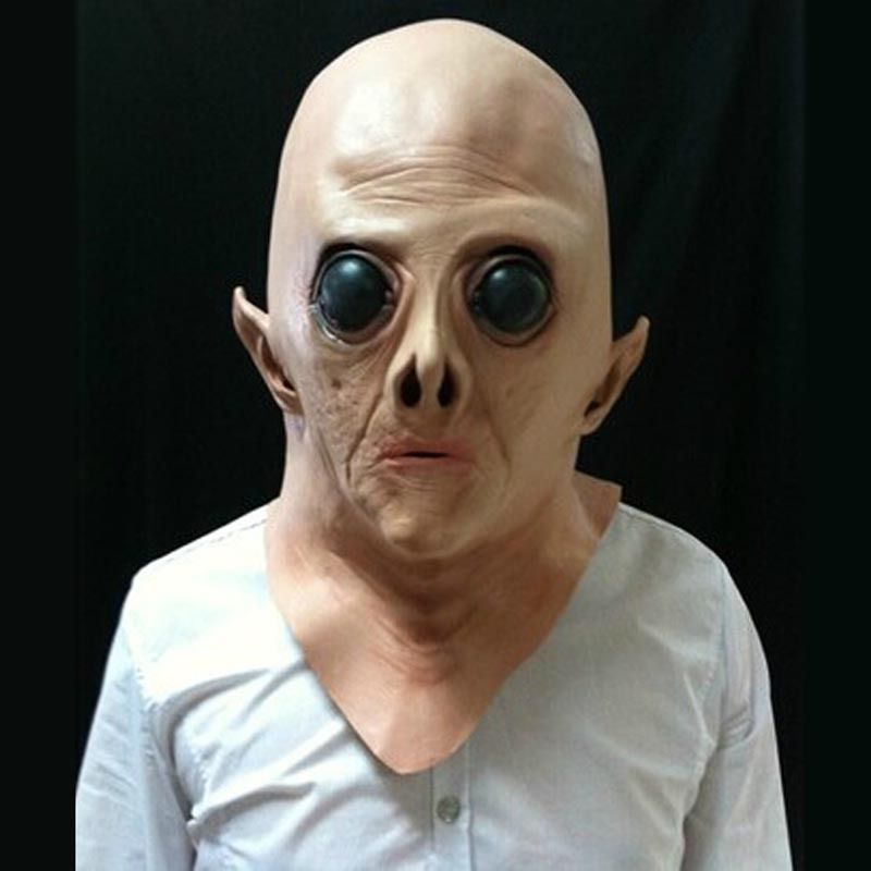 Halloween Creepy Face Mask Latex UFO Alien Head Cosplay Fancy Dress UP Costume
