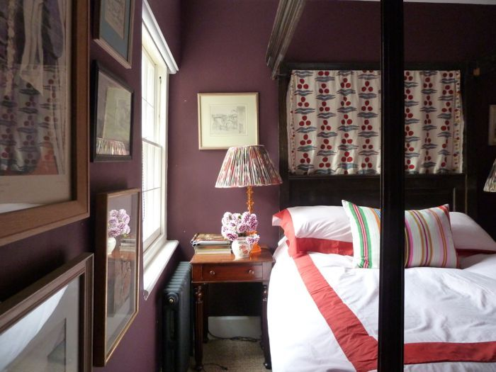 bedroom with purple walls farrow and ball brinjal dark wood canopy bed - Farrow And Ball Brinjal