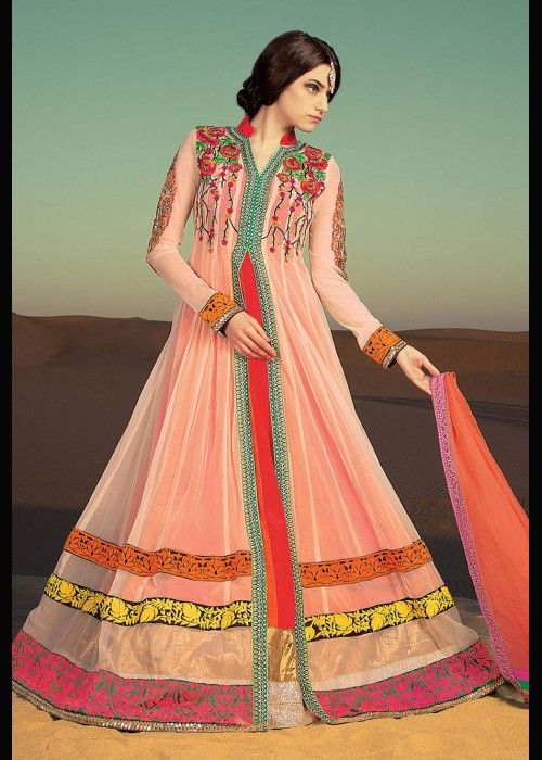 Multicolored Anarkali Suit With Sarara For All Occassions .  Buy online - http://gravity-fashion.com/16080-multicolored-anarkali-suit-with-sarara-for-all-occassions.html