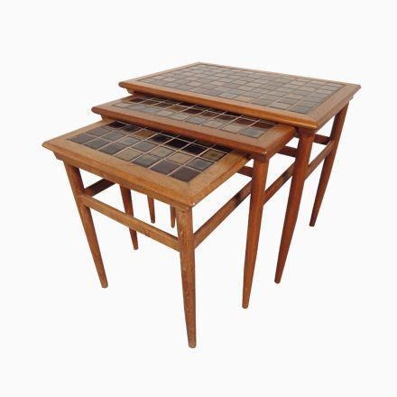 Dänische Teak und Keramik Mosaik Satztische, 1960er, 3er Set Jetzt - marmor wohnzimmer tische