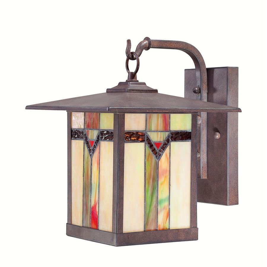 Stained Gl And Bronze Hanging Outdoor Wall Lamp Tiffany