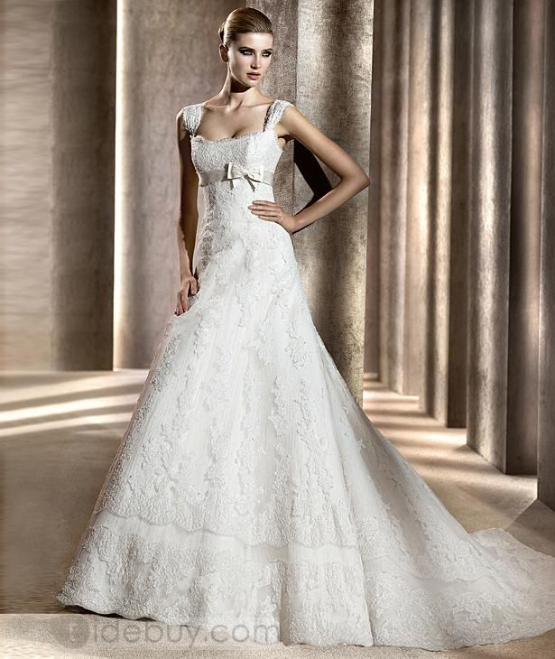 Fancy A-line Square Floor-length Wedding Dresses with Bowknot