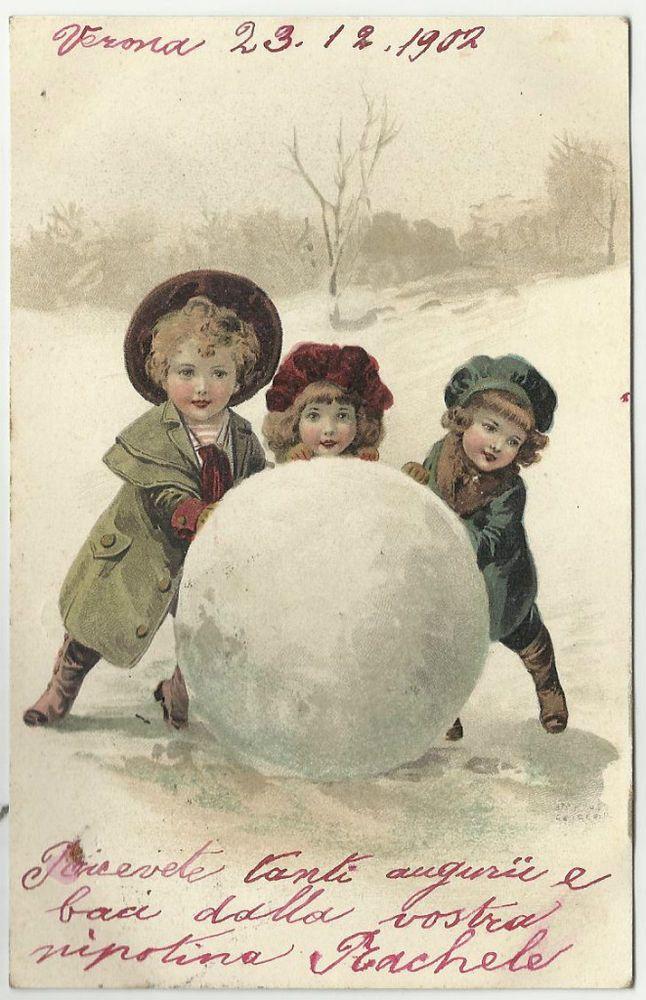 Auguri Di Natale Per Bimbi.Antica Cartolina Di Auguri Spedita Da Verona Bimbi E Palla