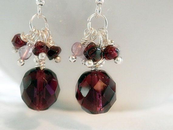 Purple Amethyst and Glass Earrings Dangle by OnIslandTimeJewelry, $12.95