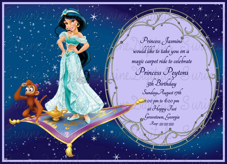 princess jasmine magic carpet ride birthday party invitation jasmine from aladdin party invite by surinedigitals on etsy