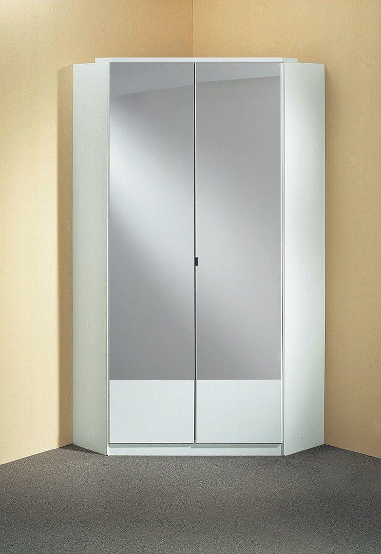 armoire d'angle contemporaine 2 portes coloris blanc adagio | armoires