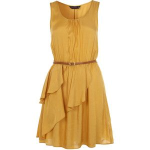 $56 Petites Ochre Ruffle Dress