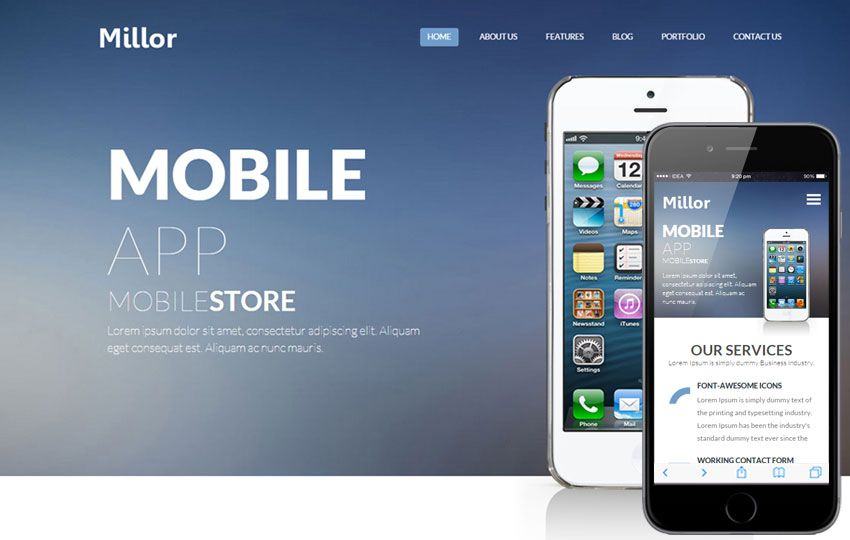 Mobile Website Templates Max App A #mobile #app #based #flat #bootstrap #responsive