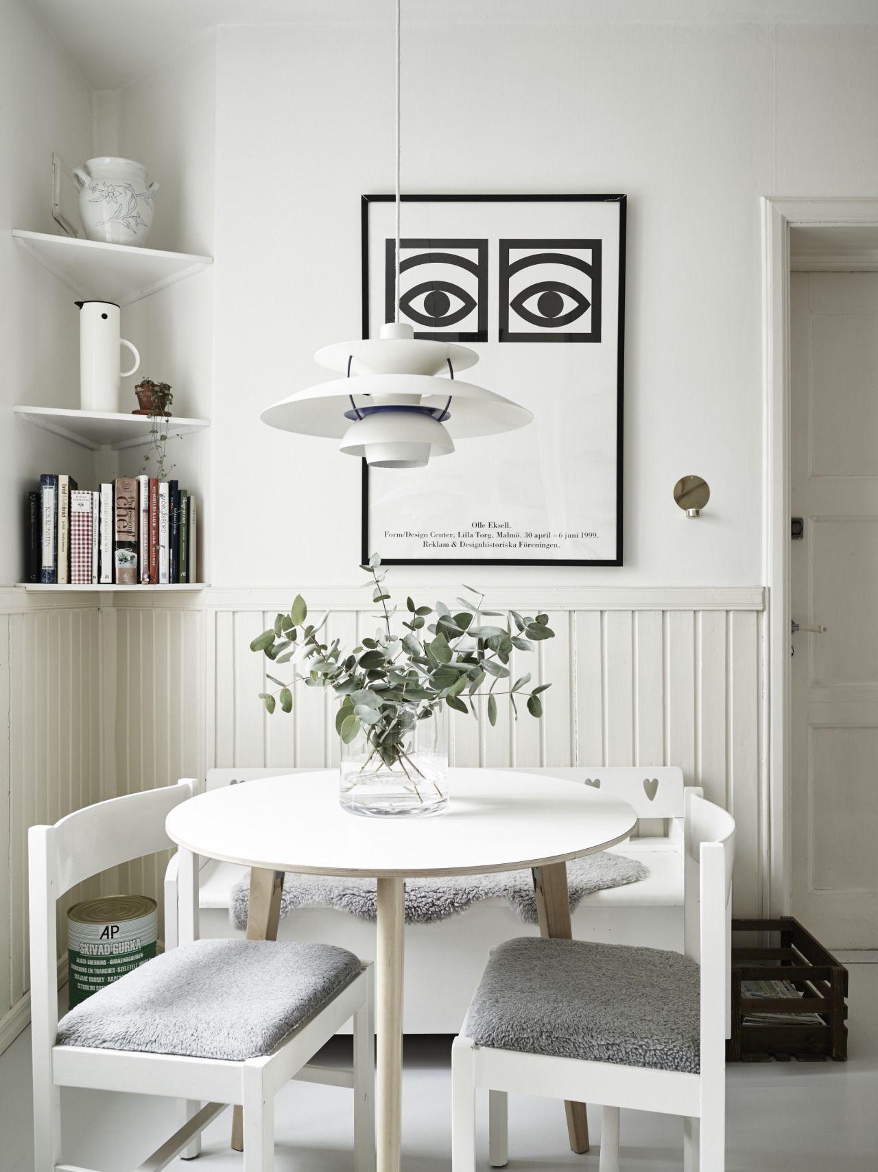 My Ideal Home U2014 Cozy White Dining Spot (via Stadshem)