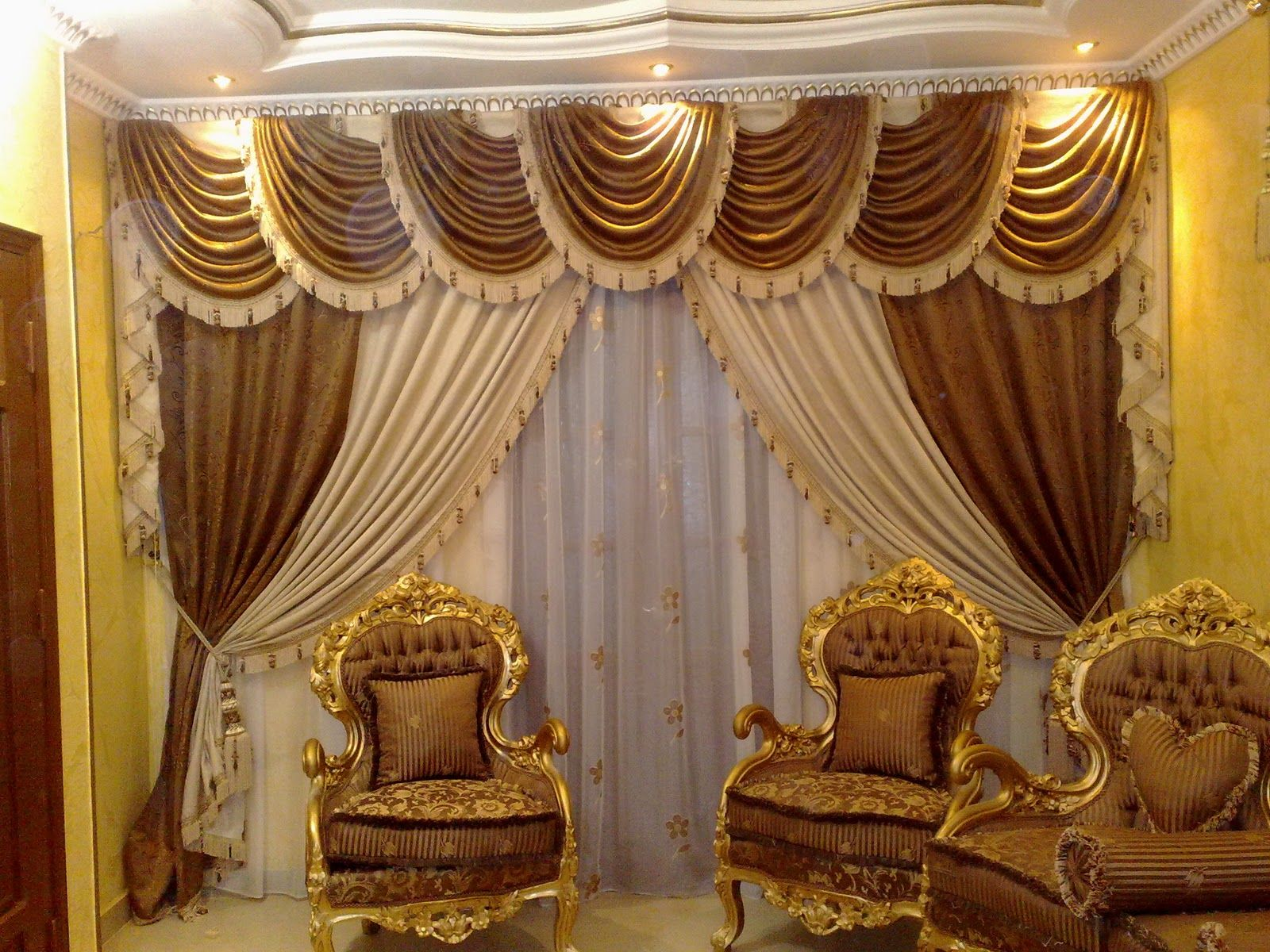 Luxurious living room curtains luxury curtain designs for Window design with curtains