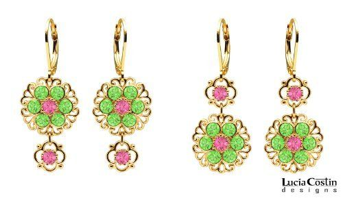 Victorian Style Two Pairs of Earrings in One by Lucia Costin with Dangle Flowers and Dots, Set with Filigree Elements, Pink and Light Green Swarovski Crystals; 24K Yellow Gold Plated over .925 Sterling Silver Lucia Costin. $57.00. Ornate with rose and peridot Swarovski crystals. Splendid combination of dangle elements. Unique jewelry handmade in USA. Dangle earrings beautifully designed by Lucia Costin. Update your everyday style with inspiration when wearing this piece of...